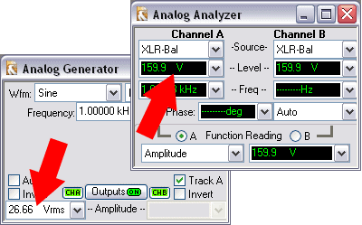 Maximum generator output and maximum analyzer input