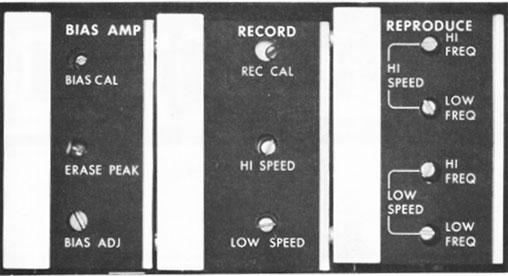 Fig 3 Record and playback adjustments on an Ampex 440 analog tape deck.