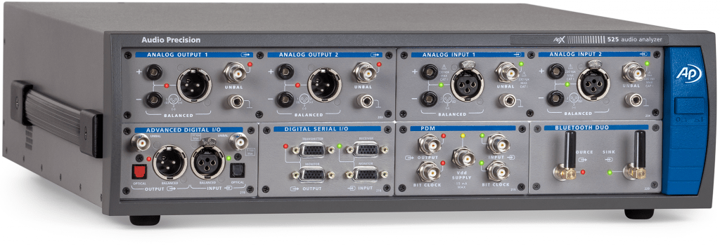 APx525 Audio Analyzer with Digital Serial, PDM and Bluetooth modules installed