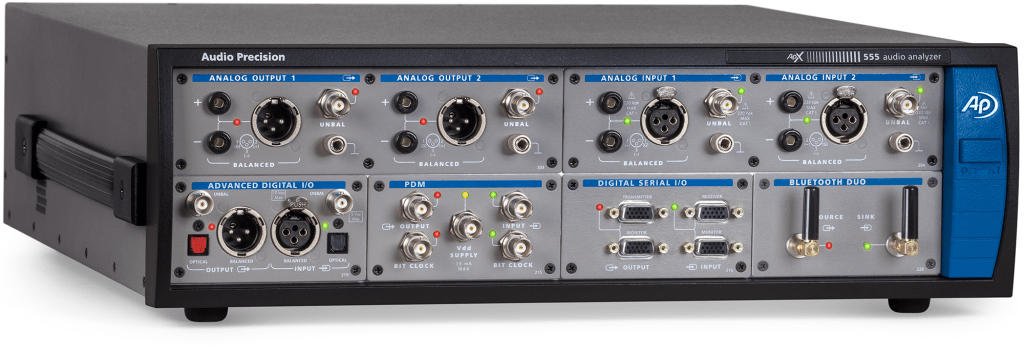 APx555 high-performance audio analyzer with Digital Serial, PDM and Bluetooth Duo modules installed
