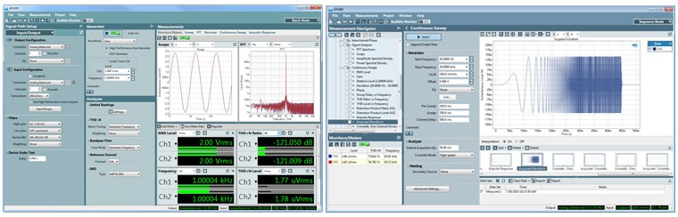 APx500 audio measurement software demonstrating Bench Mode (l) and Sequence Mode (r)