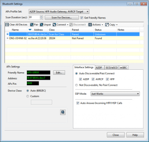 APx software Bluetooth settings and controls (v4.4.2 software and earlier)