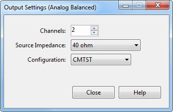 2-channel balanced output configuration CMTST setting for AC and DC common mode rejection measurements
