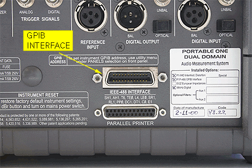 View of back panel, showing the GPIB connector below the digital output and above the parallel printer port.