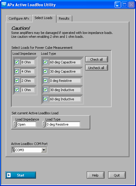 Active LoadBox Utility, showing the Select Loads tab.