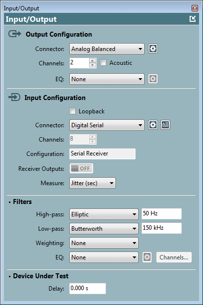 APx Input/Output panel settings with Jitter (sec) measurement filter