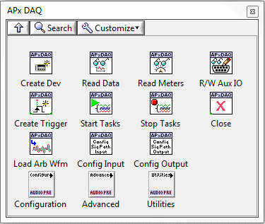 Main Menu Palette of LabVIEW DAQ Driver for APx515