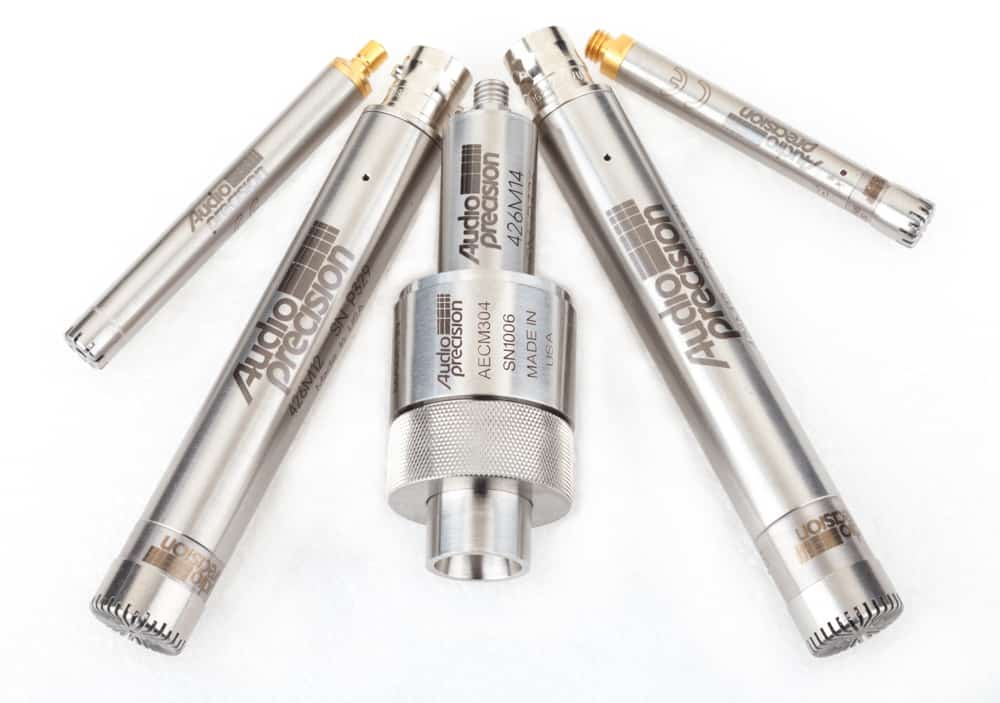 The Audio Precision family of calibrated measurement microphones.