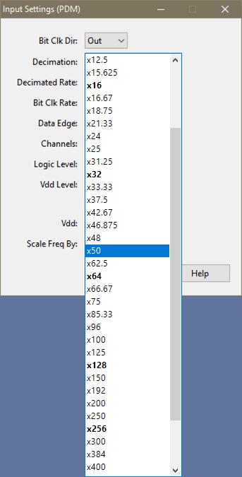 PDM input settings