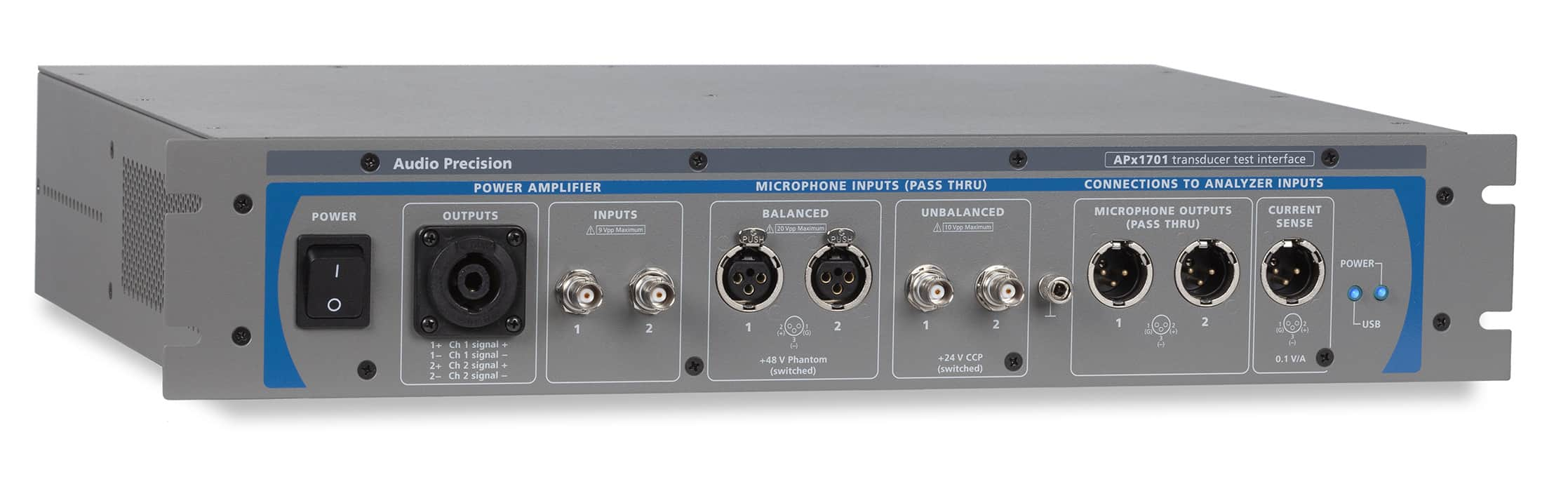 The APx1701 Transducer Test Interface offers low noise, low distortion and flat response performance in support of loudspeaker, headphone and microphone testing