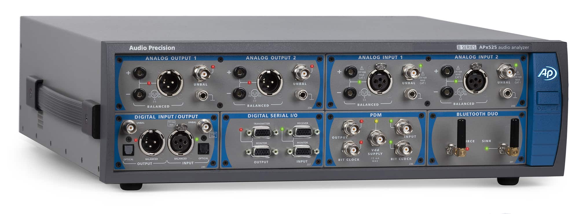 APx525 B Series Audio Analyzer with Digital Serial, PDM and Bluetooth Modules Installed