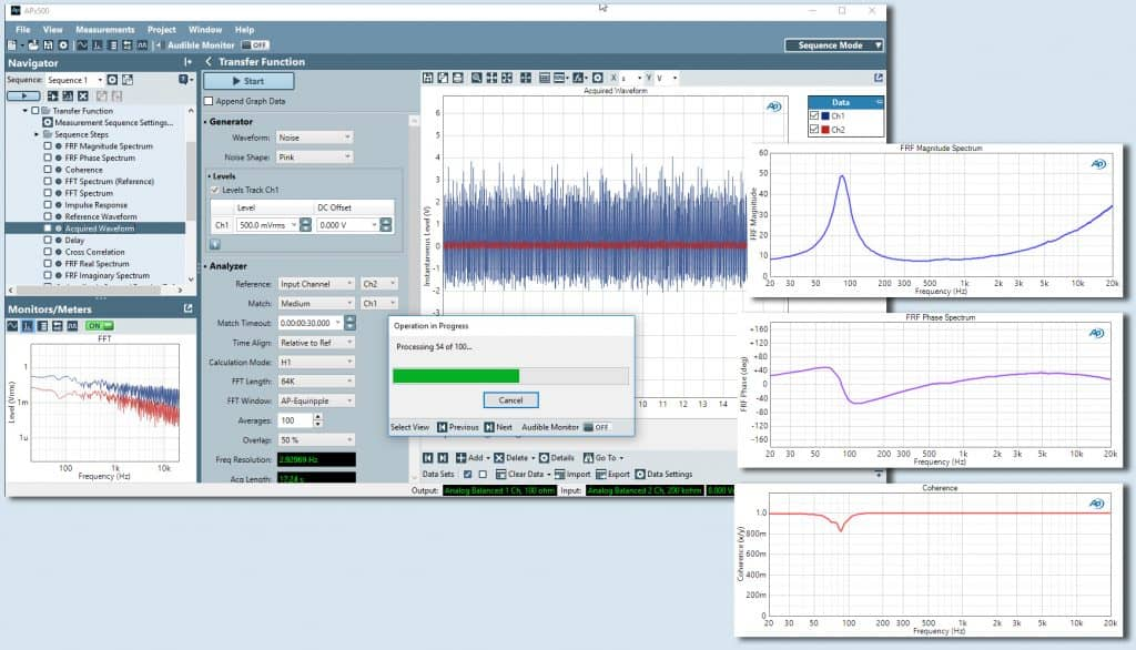 APx Software v5.0 Transfer Function Measurement Example