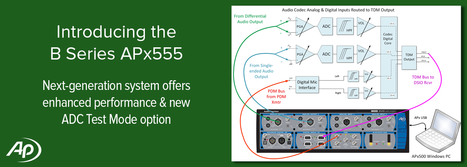 APx555 B Series audio analyzer offers enhanced performance and ADC Test Mode option