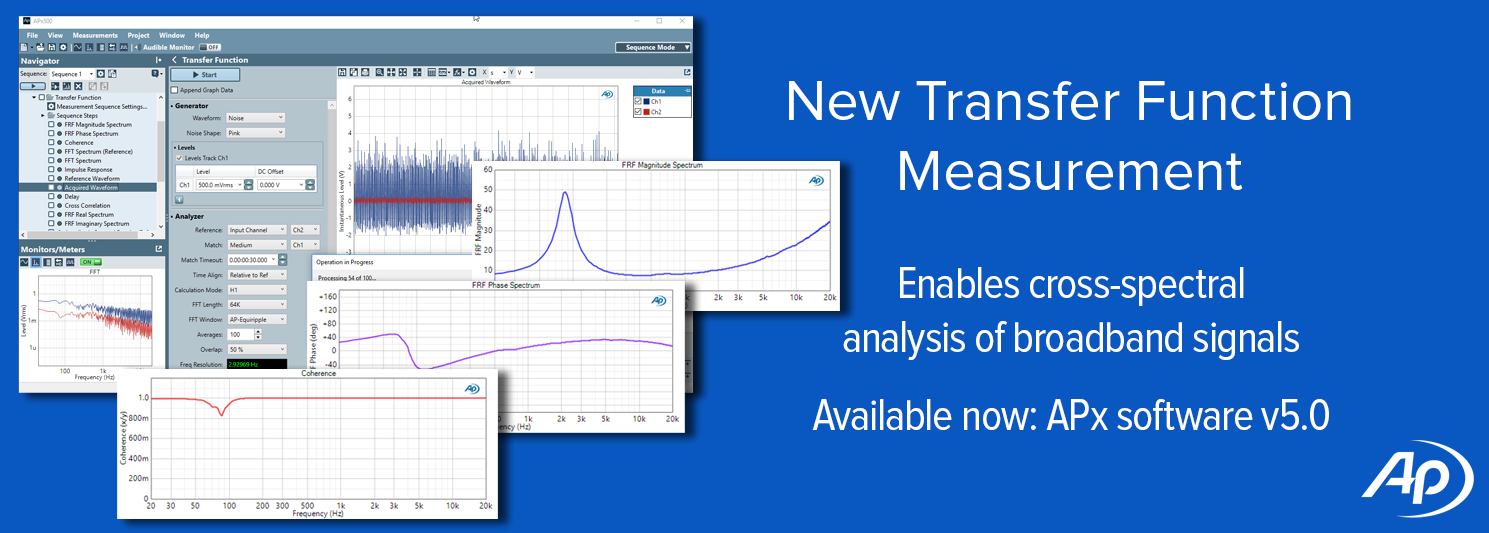 APx software version 5.0 adds transfer function measurement