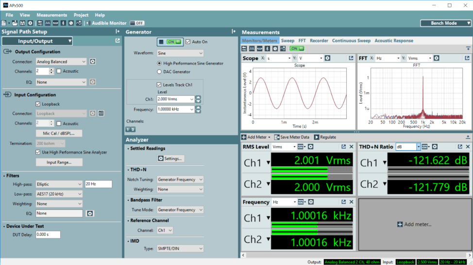 APx500 Software Bench Mode