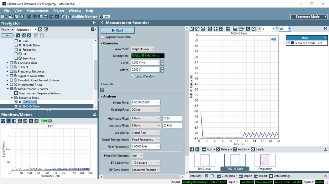 Sequence Mode – Measurement Recorder:
