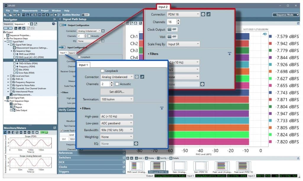 Multiple Simultaneous Input Types - APx500 Audio Measurement Software Version 6.0