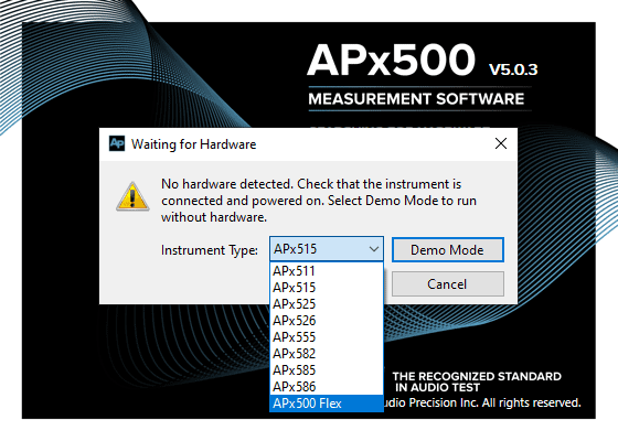 Figure 1. APx500 Software splash screen and hardware detection window.