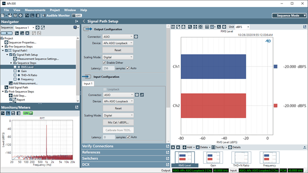 Figure 2. Using the Demo Mode ASIO Loopback capability in APx500 software version 5.0 or later.