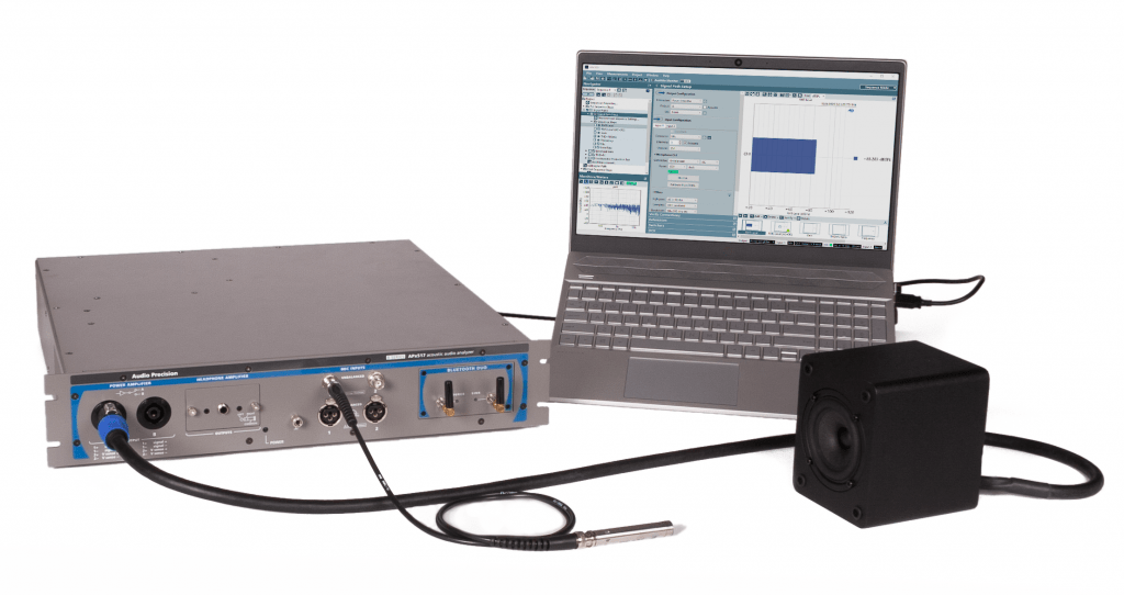 APx517B Acoustic Analyzer with GRAS measurement mic in a loudspeaker test setup
