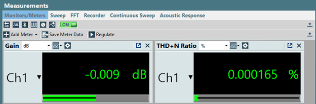 Figure 1. The Monitors/ Meters measurement in Bench Mode showing an RMS Level and THD+N Ratio meter.