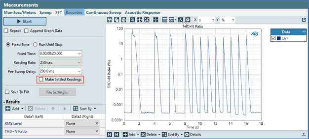 Figure 4. The Make Settled Readings checkbox in the configuration pane of the Bench Mode Recorder measurement.