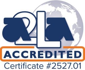 American Association for Laboratory Accreditation (A2LA) under ISO/IEC 17025:2017